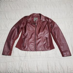 NWOT Maurices Faux Leather Jacket, Burgundy, Sz XL